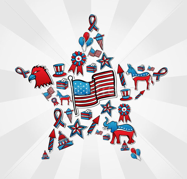 USA elections icon set in star Stock photo © cienpies