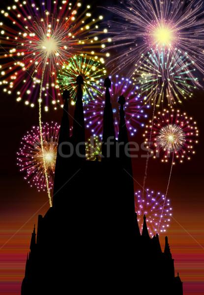 Tűzijáték boldog új évet Barcelona város éjszakai város templom Stock fotó © cienpies