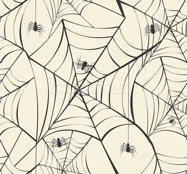 Happy Halloween spider webs seamless pattern background EPS10 fi Stock photo © cienpies