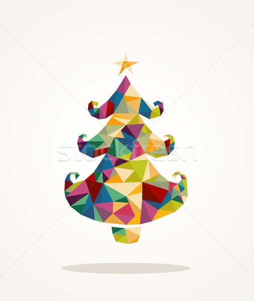 веселый Рождества современный сосна изолированный Сток-фото © cienpies