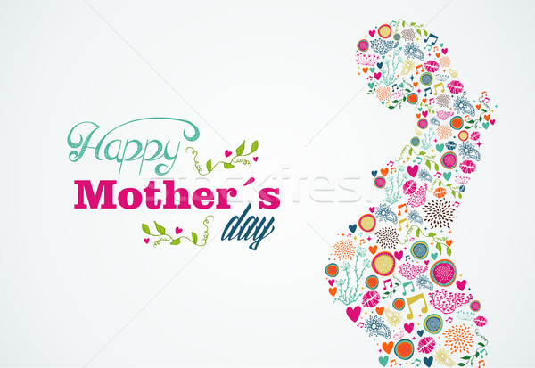 Feliz · Mães · Silhueta · Mulher · Grávida · Ilustração