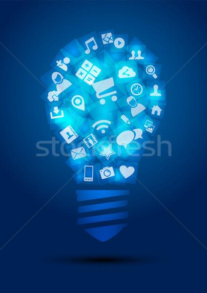 Social media idee gloeilamp vorm netwerk iconen Stockfoto © cienpies