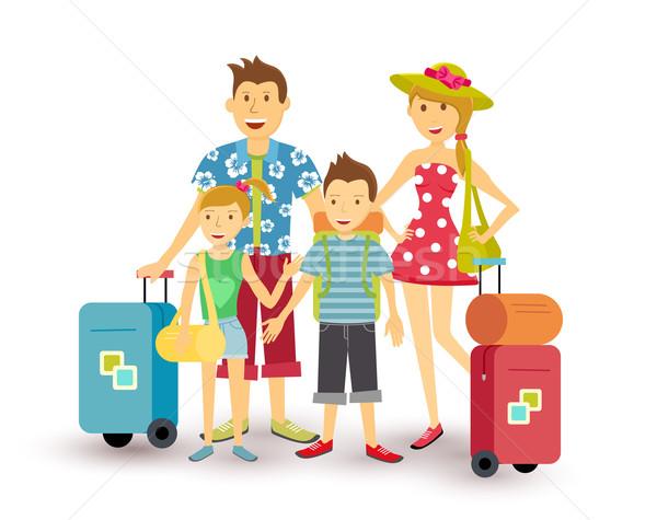 Boldog család nyári vakáció utazás művészet szülők gyerekek Stock fotó © cienpies