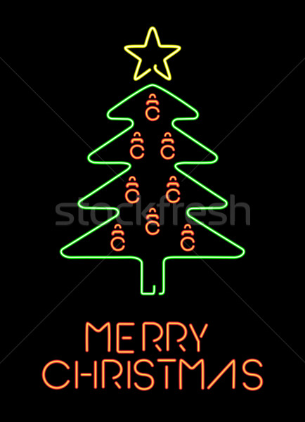Alegre natal néon retro pinheiro cartão Foto stock © cienpies