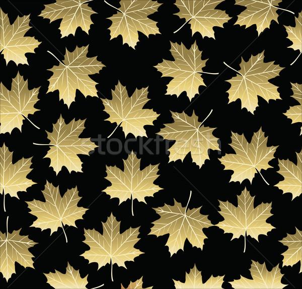 Gold maple fall tree leaf seamless pattern Stock photo © cienpies