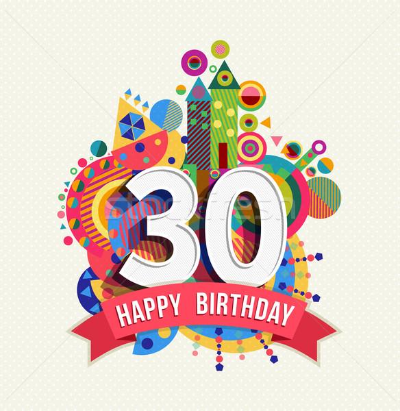 Boldog születésnapot 30 év üdvözlőlap poszter szín Stock fotó © cienpies