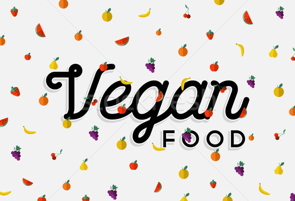 Vegan food design with colorful fruit elements Stock photo © cienpies