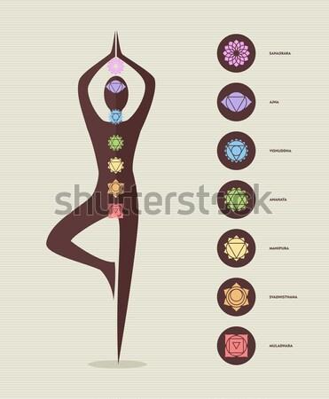 Csakra ikonok emberi sziluett jóga póz színes Stock fotó © cienpies
