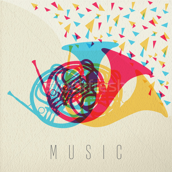 Musique corne orchestre bande couleur design Photo stock © cienpies