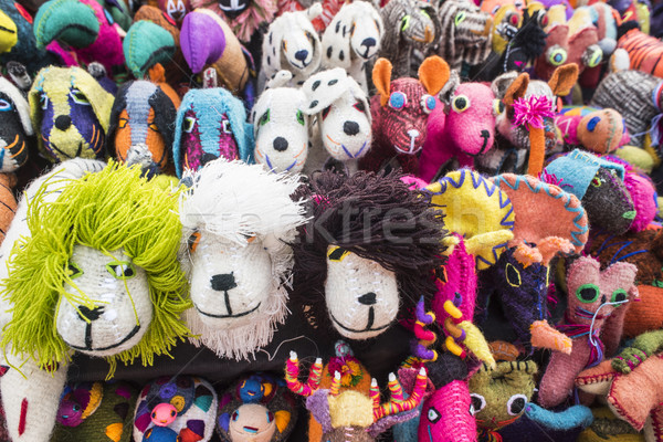 Handmade animal toys display in mexican market Stock photo © cienpies