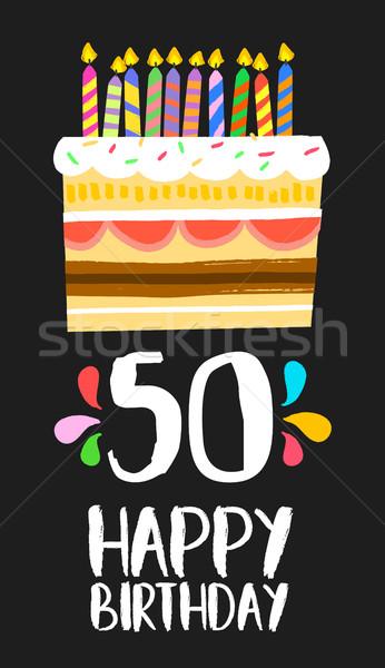 Alles Gute zum Geburtstag Karte 50 fünfzig Jahr Kuchen Stock foto © cienpies