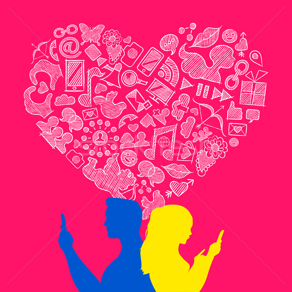 Valentine's day young love internet icon concept Stock photo © cienpies