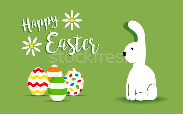 Kellemes húsvétot fehér nyuszi tavasz terv ünnep Stock fotó © cienpies