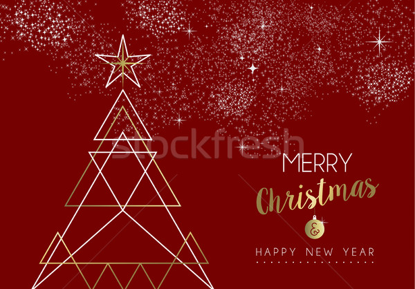 Merry christmas happy new year deco tree outline Stock photo © cienpies