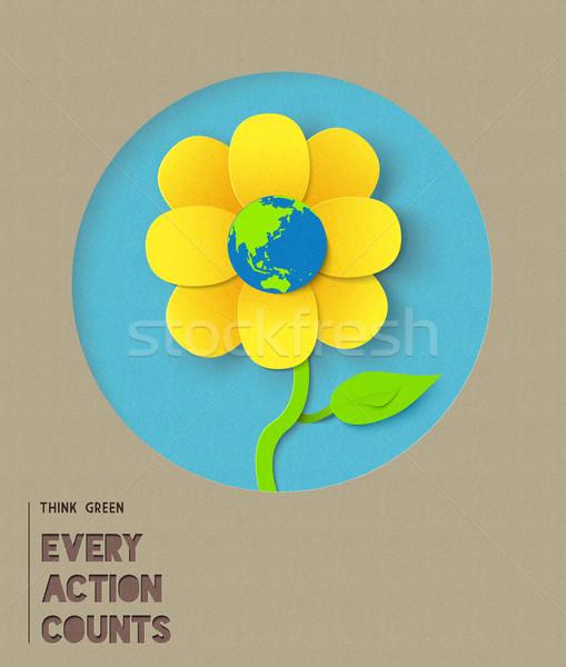 Сток-фото: счастливым · бумаги · цветок · иллюстрация · цитировать