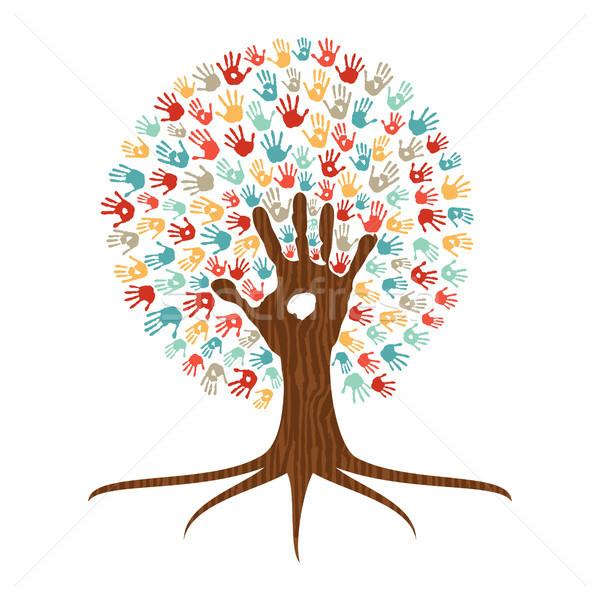 Hand print art tree illustration for community help Stock photo © cienpies