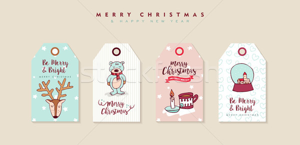 Christmas and new year cute cartoon label set  Stock photo © cienpies