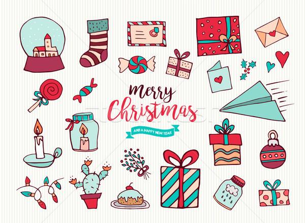 Foto stock: Navidad · año · nuevo · cute · vacaciones · Cartoon · colección