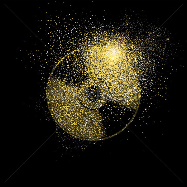 Cd gold glitter art concept symbol illustration Stock photo © cienpies