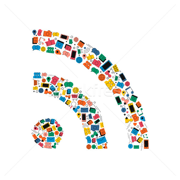 Social media network wifi signal icon concept Stock photo © cienpies