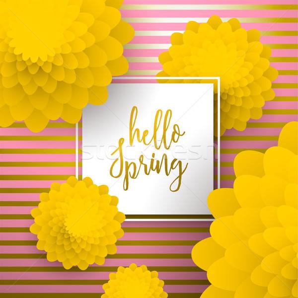Olá primavera ouro cartão papel flores Foto stock © cienpies