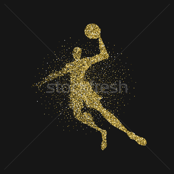 Basketball player silhouette gold glitter poster Stock photo © cienpies