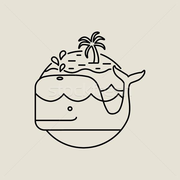 Bálna ikon vonal művészet trópusi sziget nyár Stock fotó © cienpies