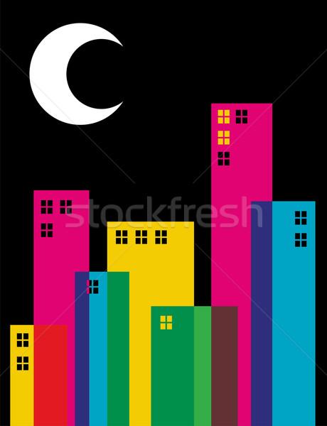 şeffaflık gece şehir binalar ay Stok fotoğraf © cienpies