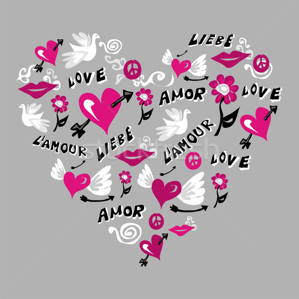 Love Symbols In Heart Shape Vector Illustration Cienpies Design