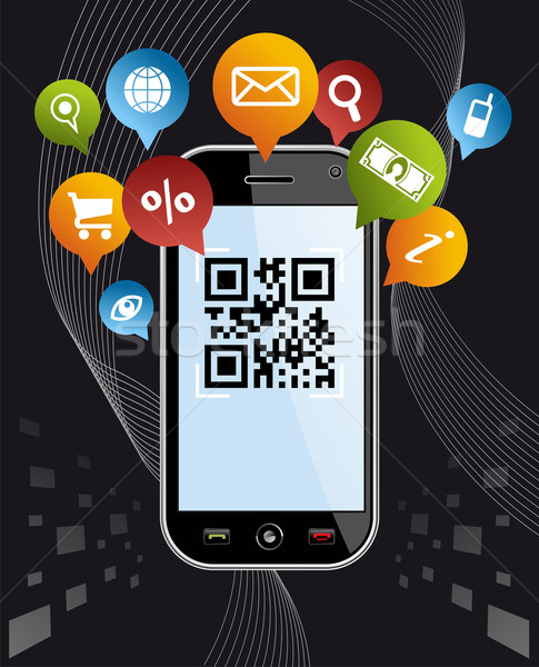 Go social via Smartphone: QR code application on black Stock photo © cienpies