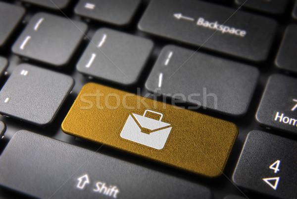 желтый клавиатура ключевые портфеля бизнеса профессиональных Сток-фото © cienpies
