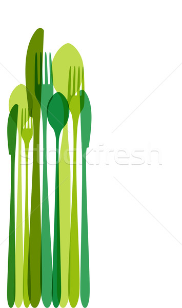 Green cutlery illustration Stock photo © cienpies