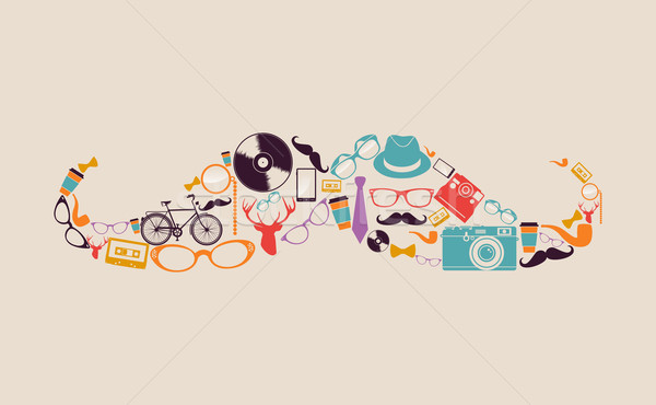 Retro hipsters icons mustache. Stock photo © cienpies