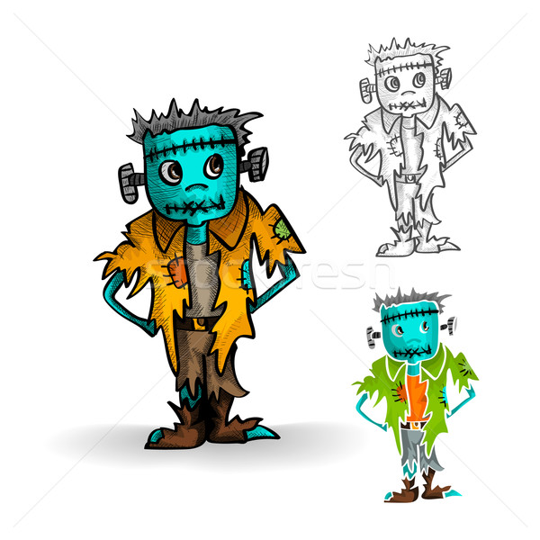 Halloween monsters isolated spooky zombie man set. Stock photo © cienpies