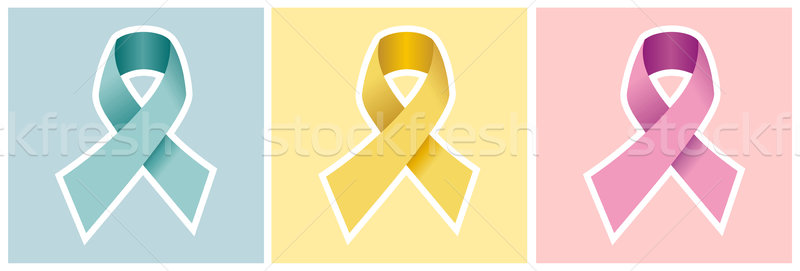 Cancer ribbon set on colored backgrounds. Stock photo © cienpies