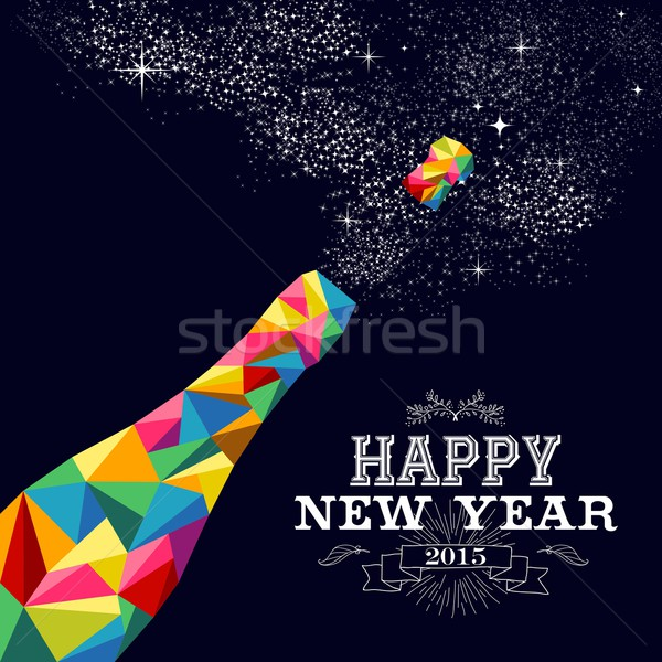 New year 2015 champagne bottle poster design Stock photo © cienpies