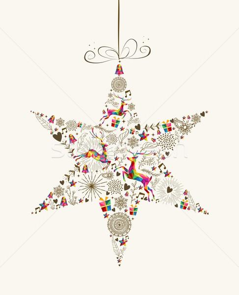 Jahrgang Weihnachten Sterne Spielerei Grußkarte Form Stock foto © cienpies