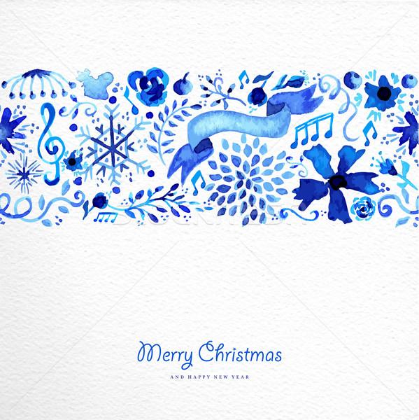 Сток-фото: веселый · Рождества · рисованной · шаблон · иллюстрация · акварель