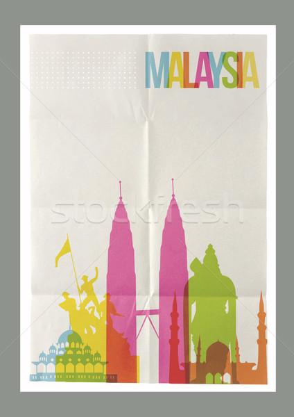 Viajar Malásia linha do horizonte vintage cartaz famoso Foto stock © cienpies