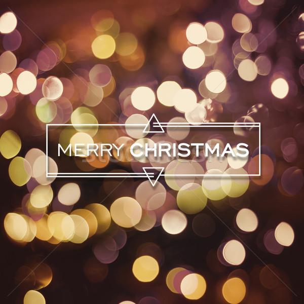 Merry christmas bokeh golden lights greeting card Stock photo © cienpies