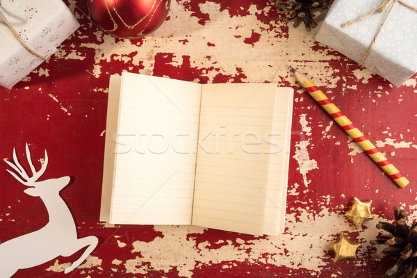 Christmas concept notebook paper deer retro template Stock photo © cienpies
