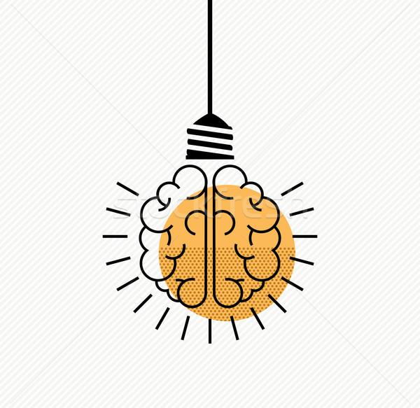 Human brain idea concept in modern line art style Stock photo © cienpies