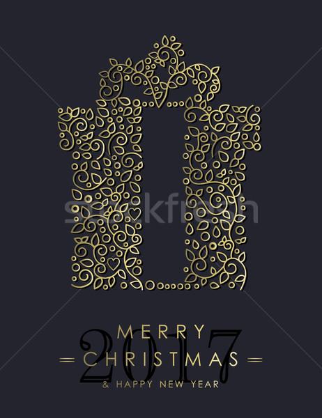 Сток-фото: золото · Рождества · Новый · год · декоративный · подарок · дизайна
