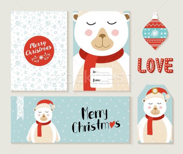 Polar Bear Merry Christmas greeting card set Stock photo © cienpies
