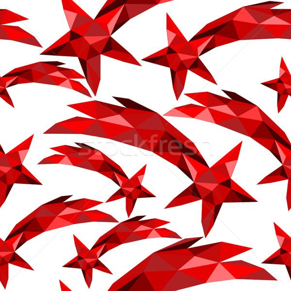 Shooting star seamless pattern red low poly xmas Stock photo © cienpies