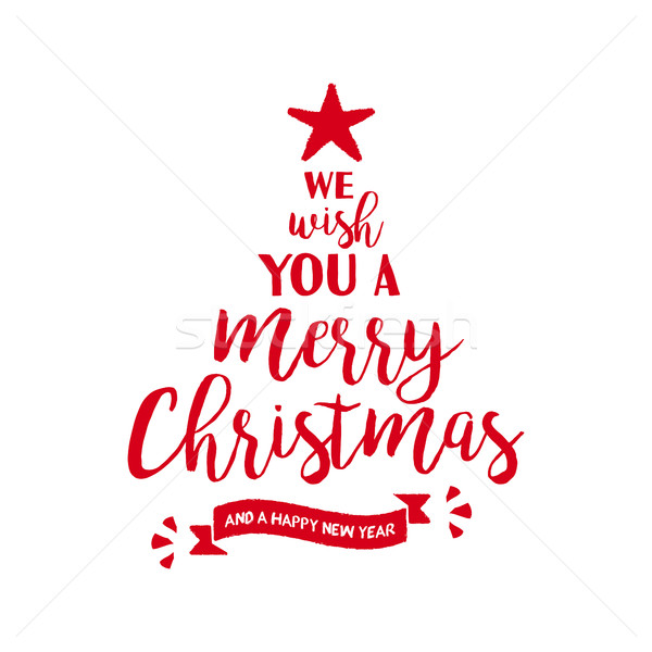 Merry christmas quote tree lettering illustration Stock photo © cienpies
