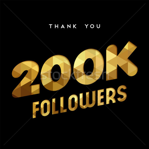 200k gold internet follower number thank you card Stock photo © cienpies