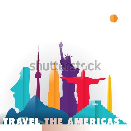 旅行 国 紙 カット 世界 モニュメント ストックフォト © cienpies