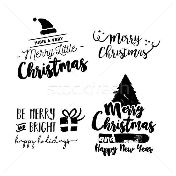 Christmas lettering holiday season art quote set Stock photo © cienpies