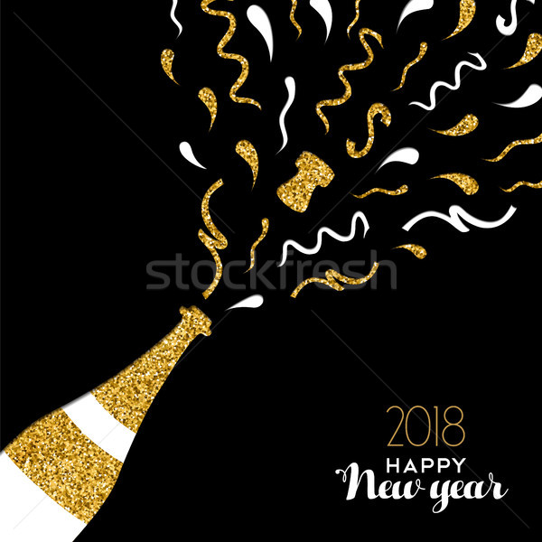Happy New Year 2018 gold glitter party drink card Stock photo © cienpies